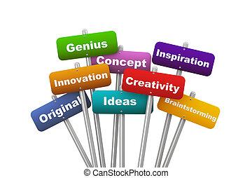 3d, plakat, begriff, von, kreativität