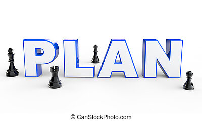 3d Plan with chess pieces