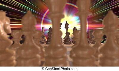3d, planche, lumière, échecs, espace