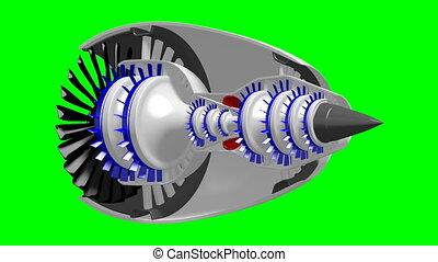 3D plane/ jet engine - on green background