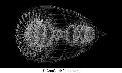 3D plane/ jet engine (wireframe) - on black background