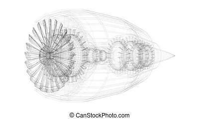3D plane/ jet engine (wireframe)- on white background