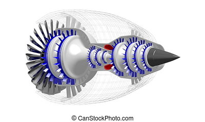 3D plane/ jet engine (with wireframe) - on white background