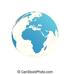3D planet Earth globe. Transparent sphere with blue land silhouettes. Focused on Africa and Europe
