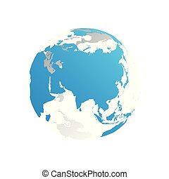 3D planet Earth globe. Transparent sphere with blue land silhouettes. Focused on Asia