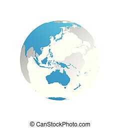 3D planet Earth globe. Transparent sphere with blue land silhouettes. Focused on Australia and Oceania
