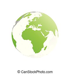 3D planet Earth globe. Transparent sphere with green land silhouettes. Focused on Africa and Europe
