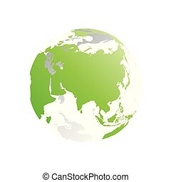 3D planet Earth globe. Transparent sphere with green land silhouettes. Focused on Asia