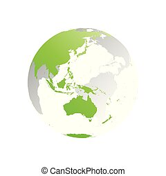 3D planet Earth globe. Transparent sphere with green land silhouettes. Focused on Australia and Oceania