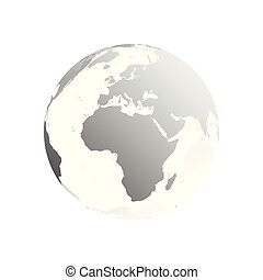 3D planet Earth globe. Transparent sphere with grey land silhouettes. Focused on Africa and Europe
