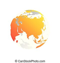 3D planet Earth globe. Transparent sphere with grey land silhouettes. Focused on Asia