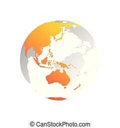 3D planet Earth globe. Transparent sphere with grey land silhouettes. Focused on Australia and Oceania