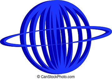 3D planet symbol on white background