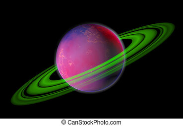 A high-detail purple planet with green rings isolated on a black background