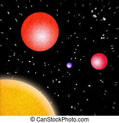 3D Planets In Space - A 3d illustration of some planets in...