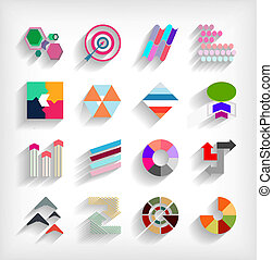 3d, plano, geométrico, resumen, empresa / negocio, icono, conjunto