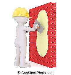 3d plaster plastering a brick wall