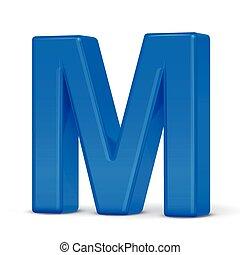 3d plastic blue letter M