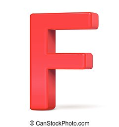 3d plastic red letter F