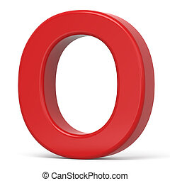 3d plastic red letter O isolated on white background