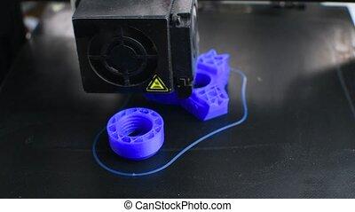 3d, plastique, imprimé, imprimante, bleu, modèle