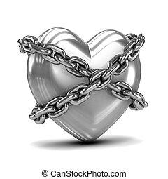 3d, plata, corazón, límite, por, cadenas