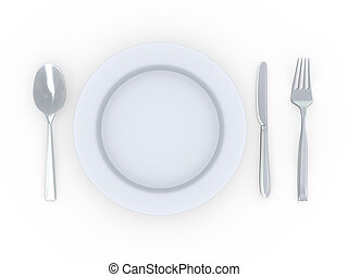 3d plate with fork, spoon and knife