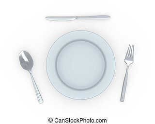 3d plate with spoon, fork and knife