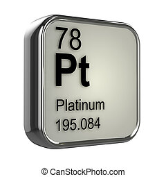 3d Platinum element - 3d render of Platinum element design