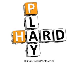 3D Play Hard Crossword text