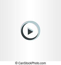 3d play icon abstract button