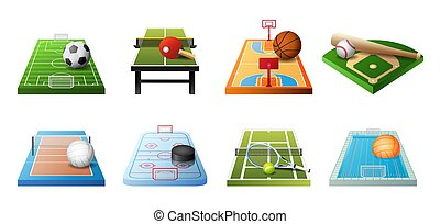 3d playgrounds for different kinds of sports icon set isolated on white background, soccer, table tennis, basketball, baseball, volleyball, hockey, water polo, vector
