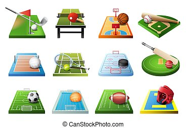 3d playgrounds with equipment for different kinds of sports isolated icon set, soccer, table tennis, basketball, baseball, volleyball, hockey, water polo, golf, football, cricket, vector illustration.