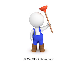 3D Plumber holding a plunger
