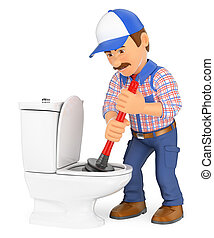 3D Plumber unclogging a toilet with a plunger