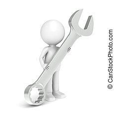 3d, poco, humano, carácter, con, un, grande, herramienta