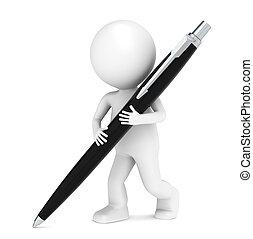 3d, poco, humano, carácter, escritura, con, un, pluma