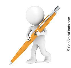 3d, poco, umano, carattere, scrittura, con, uno, penna