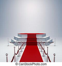 3d, podium, en, rood tapijt