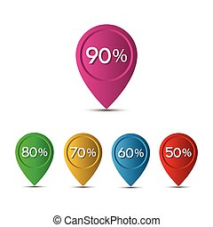 3D pointer with the percentage discounts isolated on white...
