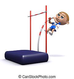 3d Pole vaulter - 3d render of an athlete doing the pole...
