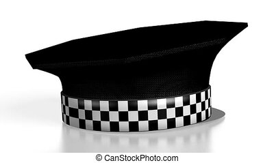 3D police cap on white background