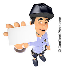 3D Police in shorts with a blank card