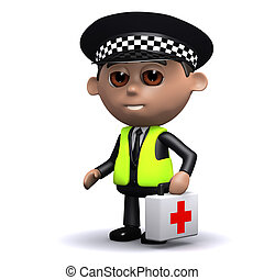 3d Police man carries first aid kit