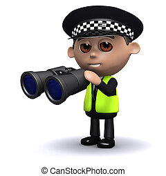 3d Police officer looks through binoculars - 3d render of a...