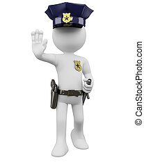 3D police with gun and nightstick ordering to stop. Rendered at high resolution on a white background with diffuse shadows.