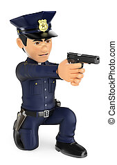 3D Policeman aiming a gun knees