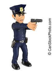 3D Policeman aiming a gun