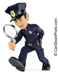 3D Policeman looking with a magnifying glass. Investigation....