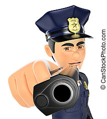 3D Policeman pointing a gun in front
